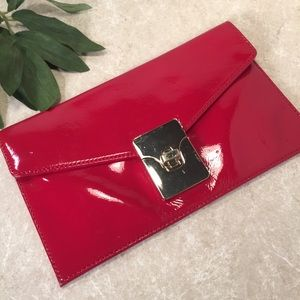 Talbots red patent leather envelope clutch gold